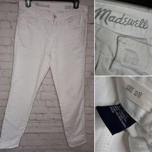 Madewell White Denim Skinny Ankle Jeans 28